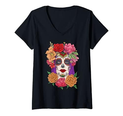 Mujer Day Of Dead - Disfraz de muertos con mscara de calavera Camiseta Cuello V