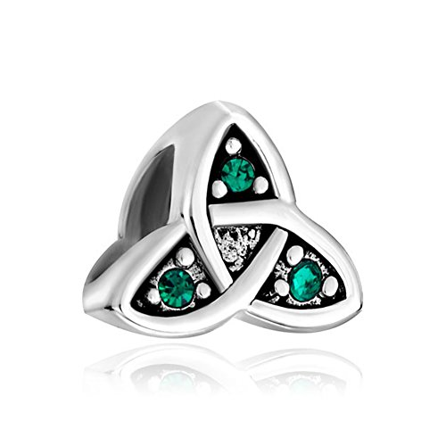Q&Locket 925 Sterling Silver Celtic Trinity Knot Charm Charms Bead for Bracelet