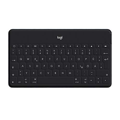 Logitech Keys-to-Go Kabellose Tablet-Tastatur, Bluetooth, iOS-Sondertasten, Ultraleicht und Geräuschlos, 3-Monate Akkulaufzeit, Fürs Tablet & Smartphone, Italienisches QWERTY-Layout - schwarz