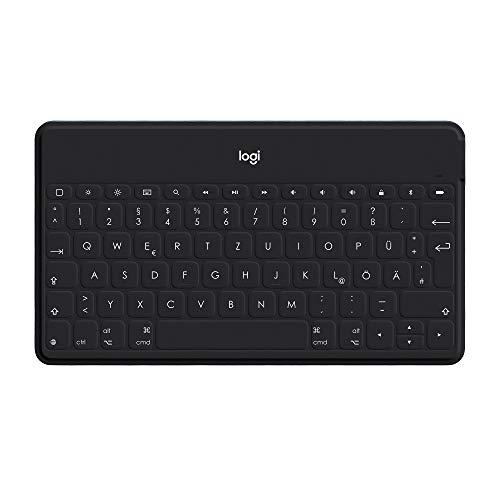Logitech Keys-to-Go Kabellose Tablet-Tastatur, Bluetooth, iOS-Sondertasten, Ultraleicht & Geräuschlos, 3-Monate Akkulaufzeit, Fürs Tablet und Smartphone, Italienisches QWERTY-Layout - schwarz