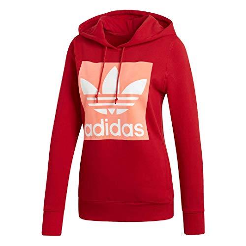 adidas Originals Trefoil Hooded Sweatshirt Felpa con Cappuccio, Scarlatto, S Donna