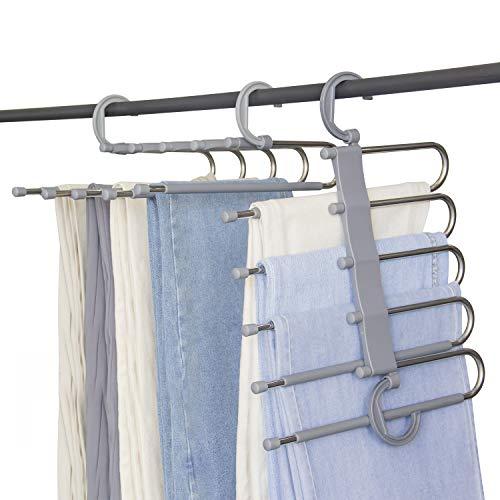 small Two Furmenic wardrobe space-saving trouser hangers. Non-slip clothing organizer 5-layer trouser hanger …