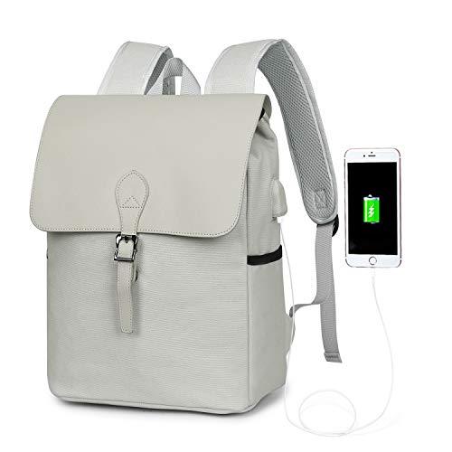 WindTook Rucksack Laptop Vintage Daypack Damen Schön Backpack 15 Zoll Schulrucksack mit USB Kabel für Teenager Uni Arbeit Modisch Lässig Alltag Freizeit, 27 x 14 x 38 cm, Grau