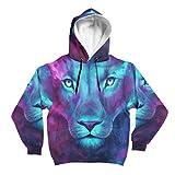 Kupen Tiger Lion Animal Grafikmuster-Druck Lässig Langarm Pullover mit Kordelzug für Männer White XXL