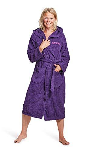 Badrock - Kapuzen-Bademantel mit Namen Bestickt - Violett/Lila - 100% Baumwolle - Herren und Damen - mit Stickerei - Personalisiert (L/XL) - SKU 669