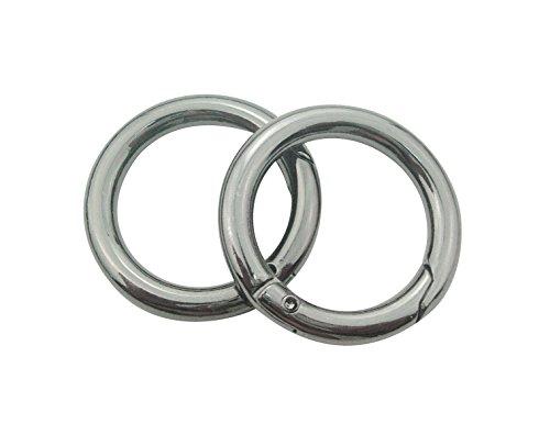 """4pcs- 1"""" 25mm Gate Spring O Ring Round Carabiner Snap Clip Trigger Spring Keyring Buckle (Gun Metal)"""