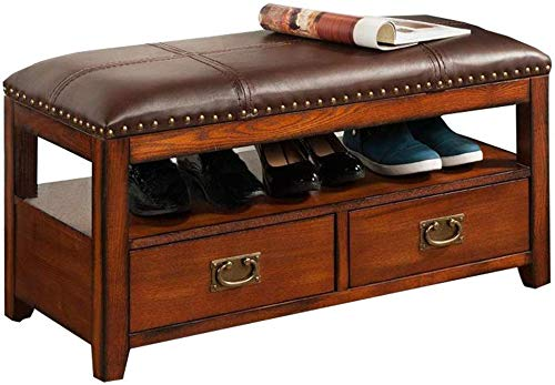 TEHWDE Shoe Bench PU Seat Wooden Solid Wood Storage Bench Entryway with Lift Top Vintage Style Shoe Rack with Genuine Leather Accents Home Furniture 90x40x46cm