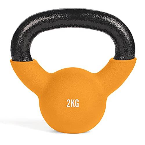 #DoYourFitness Kettlebell – Kettlebell in ghisa massiccia con rivestimento in neoprene – rosso – 2 kg