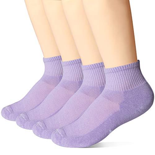 +MD 4 Paar quarter Sportsocken Damen Bambus Sneaker Socken für Fitness, Tennis, Joggen, Alltag Purple7-9