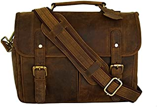Leather Camera Messenger Bag for DSLR/Mirrorless Camera by Basic Gear - Vintage, Rustic Look - Fits Sony, Canon, Nikon, Olympus, Pentax with Lenses and Accessories (Brown)