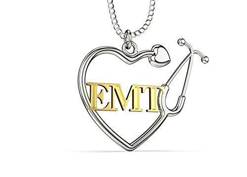 EMT Heart Stethoscope Necklace, Emergency Medical Technician Paramedic Necklace. EMT Heart Pendant Gift