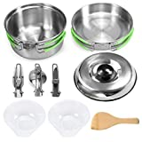 SOWUNO Camping Pot and Pan Kit Stainless Steel Outdoor Picnic Pan Set Camping