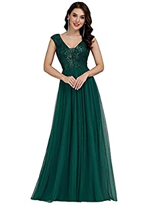 Ever-Pretty Women's V-Neck Sequin Gala Dress Long Plus Size Bridesmaid Dressess for Wedding Green US18