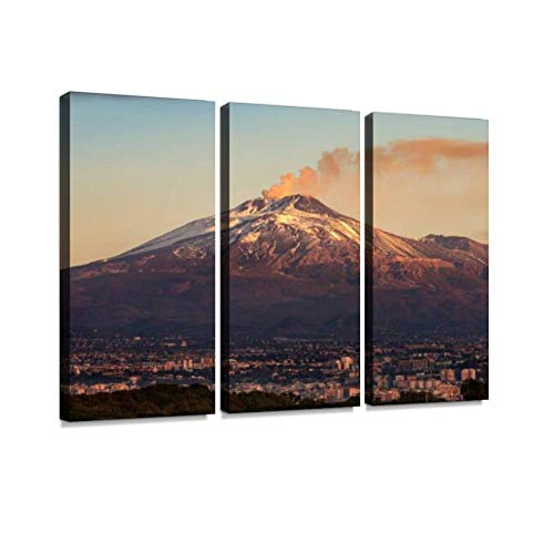 mount etna volcano and catania city sicily island italy eruptions Wall Artwork Exclusive Photography Vintage Abstract Paintings Print on Canvas Home Decor Wall Art 3 Panels Framed Ready to Hang
