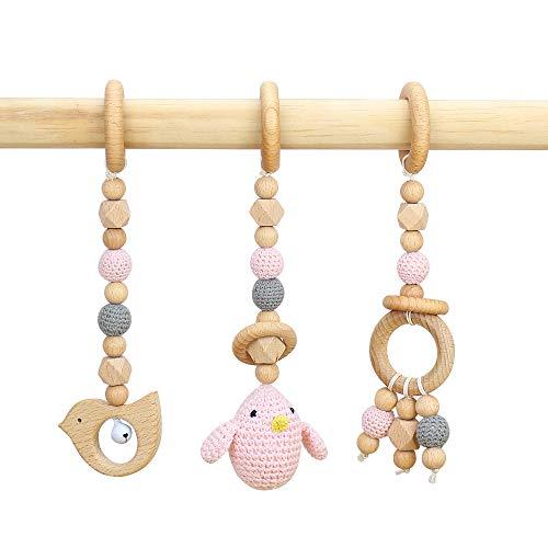 RUBY 3 Piezas Gimnasio Bebe Madera Colgante Mordedor,Baby Gym Anillas Denticion Animales Madera Bebe Gimnasio Accesorios, Cuna Bebe Juguete, Juguetes Bebe 6 Meses(Pink chick)
