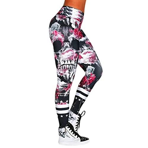 QTJY Pantalones de Yoga de Cintura Alta para Mujer con Estampado de Calavera, Mallas de Ejercicio, Pantalones para Correr al Aire Libre para Eliminar Grasa HS