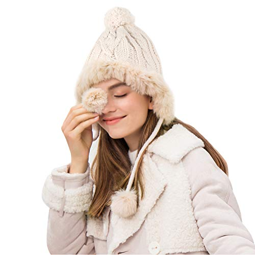 DOCILA Winter Beanie Hat for Women Warm Fleece Lined Pom Knit Hat Cute Outdoor Skull Cap (Beige)