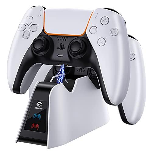 Hiwings Cargadores para PlayStation 5 DualSense, base de carga para el mando PS5 con protección de carga rápida, cargador para 2 mandos inalámbricos con cable Tipo-C, led de estado de carga