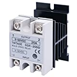 TWTADE SSR-25 DD 25A DC 3-32V to DC 5-60V SSR Solid State Relay + Heat Sink