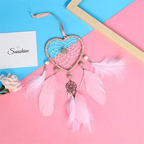 Railonch - Atrapasueños hechos a mano con plumas para niños y niñas, decoración de pared para el hogar, manualidades, verde, lila, rosa, blanco (rosa)