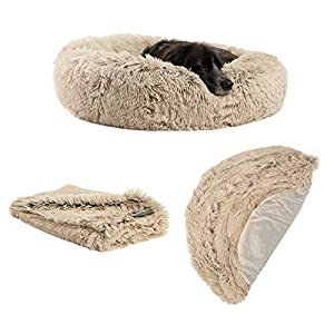 "Best Friends by Sheri The Original Calming Donut Dog Bed in Shag Fur – Bundle Value: Bed + Additional Shell Cover + Pet Throw Blanket, Taupe, Medium 30″"" x 30″"""" (BND-BTS-SHG-TAU-30SM)"