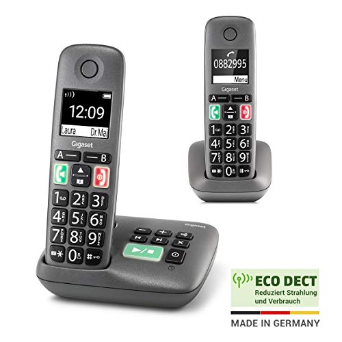 Gigaset Easy mit Anrufbeantworter – 2 Schnurlose Senioren-Telefone mit großen Tasten und extra lauter Klingelfunktion – hörgerätekompatibel, anthrazit-grau