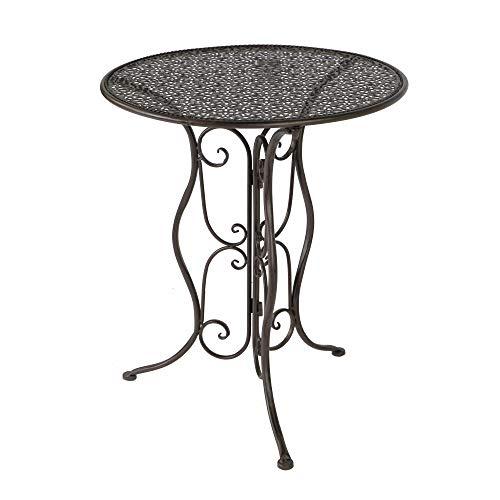 Cornbay Gartentisch Tisch Metall Rund Braun D = ca. 60 cm H = ca. 70 cm