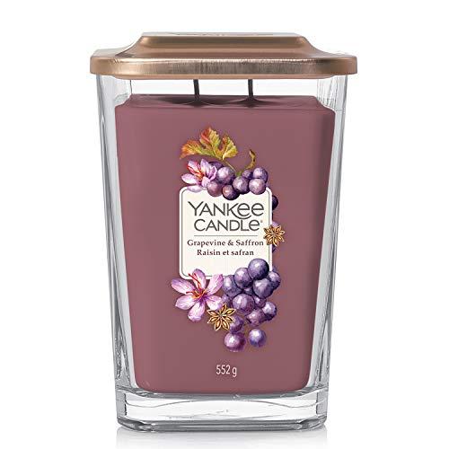 Yankee Candle candela profumata grande a 2 stoppinoi  Uva e zafferano   Durata della fragranza: fino a 80 ore   Elevation Collection con coperchio utilizzabile come base