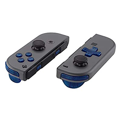 eXtremeRate Transparent Clear Blue D-pad ABXY Keys SR SL L R ZR ZL Trigger Buttons Springs, Replacement Full Set Buttons Fix Kits for Nintendo Switch Joycon (D-pad ONLY Fits Joycon D-pad Shell)