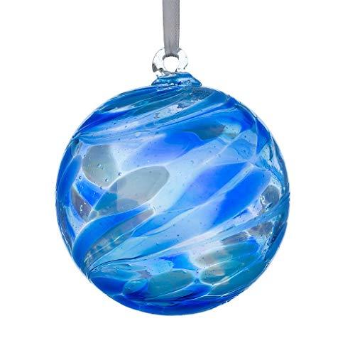 Sienna Glass September Birthstone Glass Friendship Ball-Sapphire, 11 x 11 x 14 cm