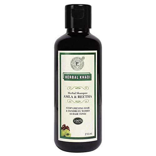 Herbal Khadi Amla Reetha Natural Shampoo Anti Dandruff Splitends Hair Fall Control Rich Protein, Scalp Hair Cleanser 210 ml (Pack of 2) Men & Women