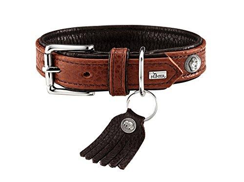 HUNTER CODY Hundehalsband, Leder, rustikal, weich, 55 (M), cognac/dunkelbraun