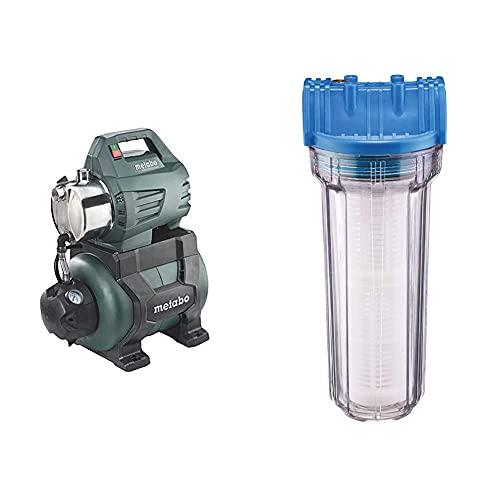 Metabo Hauswasserwerk HWW 4500/25 Inox (1300 Watt, 4,8 bar, 24 Liter, Fördermenge 4500 Liter/Stunde, Rückschlagventil Hauswasserautomat mit Start) & Güde 94462 Typ B Wasserfilter, Blau, transparent