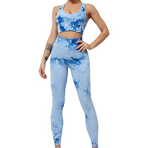 Shenrongtong Women's Yoga Outfit 2 Pieces Seamless Workout Gym High Waist Leggings Sport Bra Set Sports Running Fitness Suit