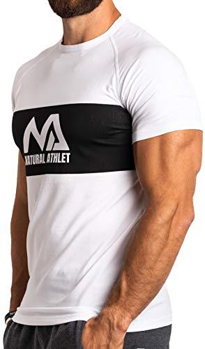 Natural Athlet Herren Fitness T-Shirt modal - Männer Kurzarm Shirt für Gym & Training - Passform Slim-Fit, lang mit Rundhals (Weiß/Schwarz, S)