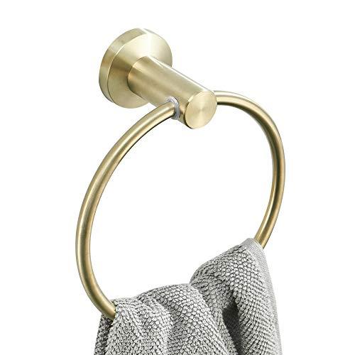WOMAO Einfach Raum Sparen Handtuchring Drehbares Design, Hochwertig Edelstahl Konstruktion Gebürstet Gold Finished Oberfläche Handtuchhalter im Badezimmer