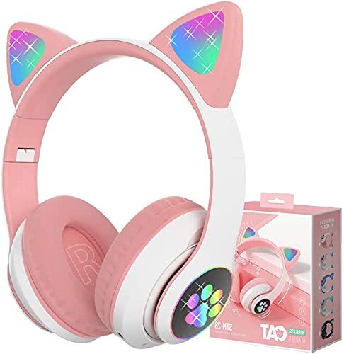 Kinder Kopfhörer, LAIBUY Katzenohr LED leuchtender Faltbarer kopfhörer mit Kabel,kopfhörer Kinder mit Bluetooth Mikrofon für Schule/Tablet/Handy/PC/TV (Pink)