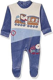 Papillon Velvet Front Stitched Detail Long-Sleeves Bodysuit for Boys - Blue, Newborn