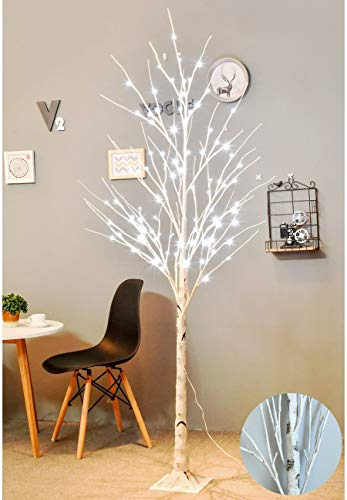 Bolylight [Updated Version] LED Birch Tree 6ft 96L LED Christmas Decorations Lighted Tree Decor for Bedroom/Party/Wedding/Office/Home Outdoor and Indoor Use White