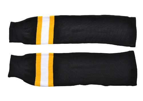 SCHANNER - Erwachsenen Hockeystutzen NHL Senior I Schienbeinschutz I Stutzen für Hockeyspieler I Eishockey-Stutzen I ideale Passform I 100% Polyester - Schwarz/Gelb/Weiß
