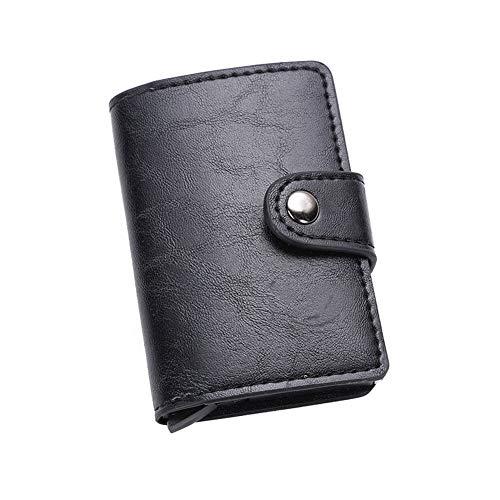 Billetera paraTarjetas de crédito, Cartera Mini, Titular de la Tarjeta de crédito en Cuero, Cartera Hombre de RFID, Bolsillos Mini Monedero Tarjeteros para Hombres o Mujeres, Negro