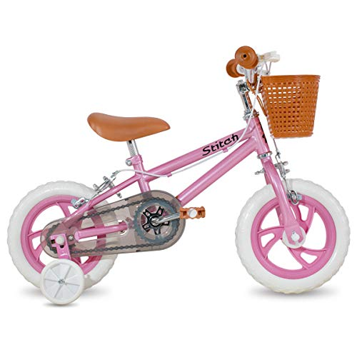 STITCH 12 inch Kids bike for girls&boys with Training Wheels & float tire & baskets, pink…