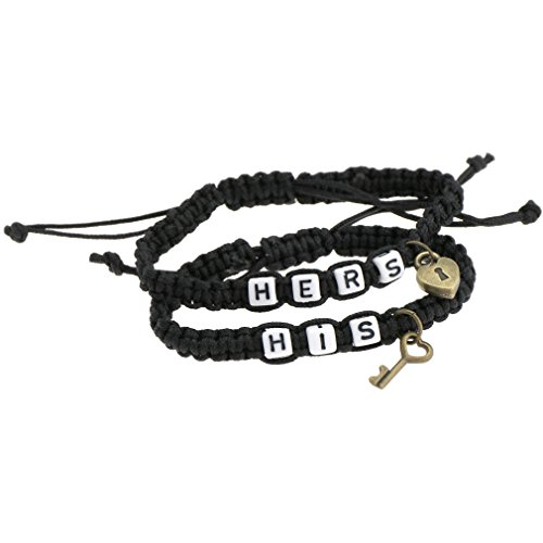 His & Hers Lock and Key Coppia Bracciale Amanti Braccialetti Regolabile per fidanzato e fidanzato