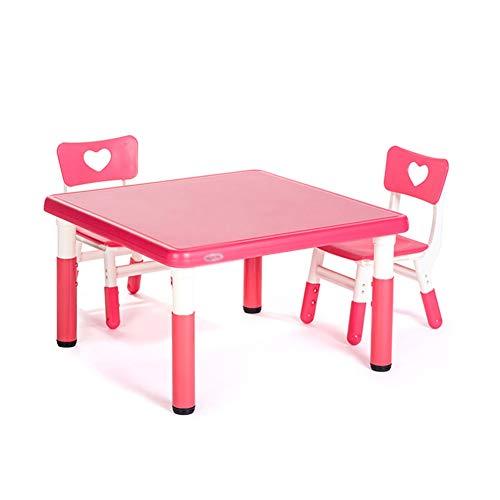 ZHAOHUI-Ensembles Table et Chaise pour Enfants Hauteur Réglable Table d'enfant Chaises Apprendre en Train De Lire Jeu Jardin d'enfants Poids Léger, 6 Couleurs (Color : Red-B)