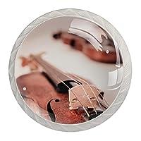 引き出しノブプルハンドル4個 クリスタルガラスのキャビネットの引き出しは食器棚のノブを引っ張る,エレガントなバイオリン