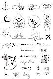Set di Tatuaggi Temporanei della Tatsy, Set Simple, Per Uomo e Donna, Design Unici, Originali, Copertura, Moderni, Hipster, Minimal, Urban, Scritte, Stelle, Ancora, Cuore, Mani, Tatuaggi Impermeabili