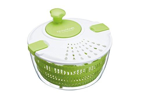 Kitchen Craft Healthy Eating Große BPA freie Kunststoff Salatschleuder, Plastik, Grün/weiß, 25 x 25 x 15.5 cm