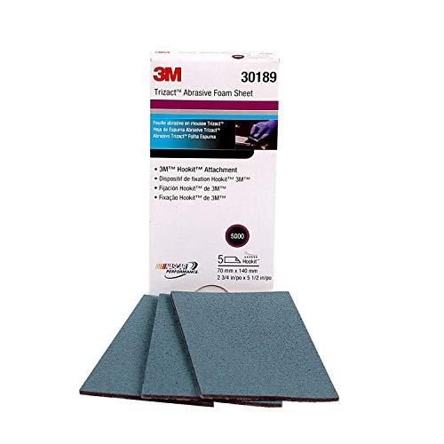 3M Trizact Hookit Schaumstoffplatten, 30189, 5000, 70 mm x 140 mm, 5 Blatt pro Karton