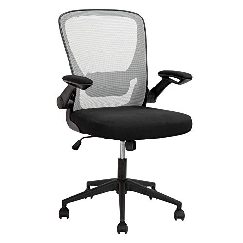 Home Office Chair Ergonomic Desk Chair Mesh Computer Chair with Lumbar Support Flip-up Arms Swivel Rolling Executive Task ChairAdjustable Chair for Adults(Grey)