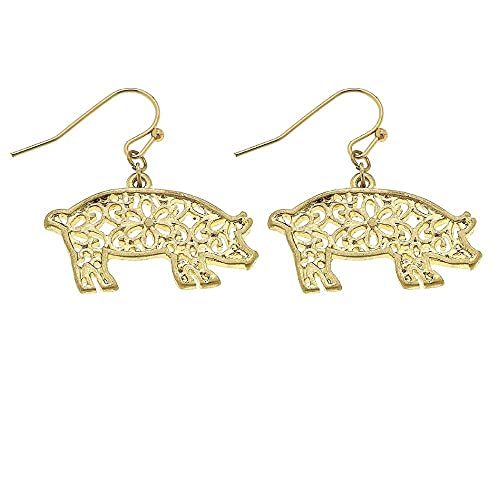 Tata Gisèle - Pendientes colgantes de metal dorado con cerdo de filigrana